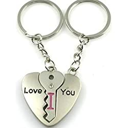 "Liroyal Couple Keychain Keyring --- ""I Love You"" Heart + Key --- Lover Sweetheart Gift for Valentine's Day / Wedding Anniversary / Birthda(1 pair)"
