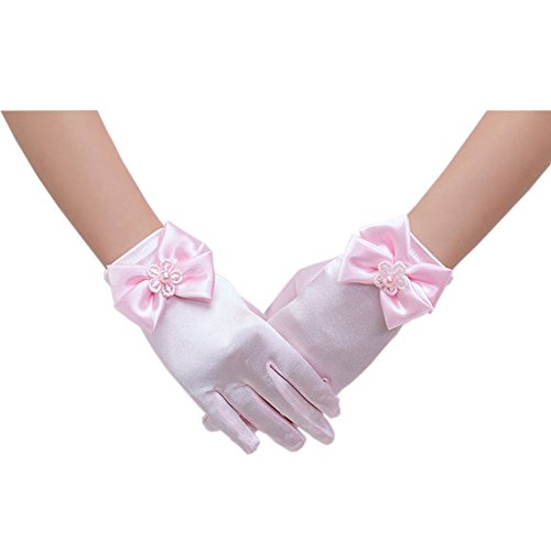 Short Flower Girls Gloves for Wedding Satin Gloves for Girls Princess Gloves (Pink)