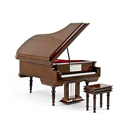 Sophisticated 18 Note Miniature Musical Hi-Gloss Brown Grand Piano with Bench - Dance of the Sugar Plum Fairy (Nutcracker Suite) by MusicBoxAttic