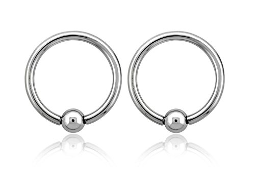 Pierced Owl 14GA EO Gas Sterilized 316L Surgical Steel Captive Bead Closure Rings - Sold as a Pair (12mm (1/2