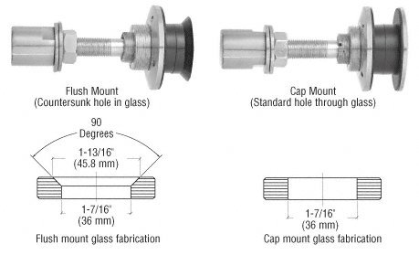 """CRL Brushed Stainless Steel Swivel Combination Fastener for 1/2"""" (12 mm) - 1/2"""" (12 mm) - 1-1/16"""" (27 mm) Glass"""