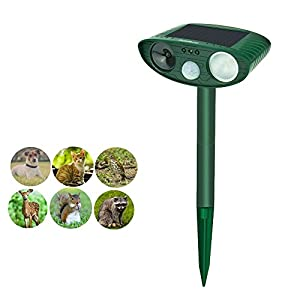 Soeland Solar Powered Ultrasonic Cat Repellent, Waterproof Animal Repeller, Electronic Animal Scarer, Raccoons Repellent, Squirrel Repellent, Pest Control, Bird Repellent, Dog Repellent