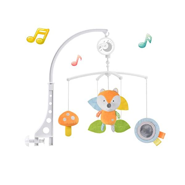 Baby Musical Crib Mobile with Hanging Rotating Plush Pendant Toys, Winding Drive Music Box, Infant Bed Decoration for Newborn Boys and Girls