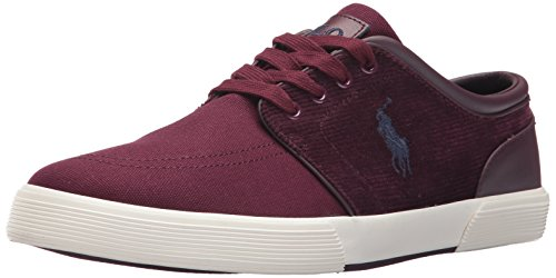 (Polo Ralph Lauren Men's Faxon Low-Canvas/Corduroy Sneaker, red, 8.5 D US)