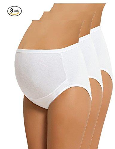 NBB Lingerie NBB Women's Adjustable Maternity Panties High Cut Cotton Over Bump Underwear Brief (XXX-Large, 3 Pack - White) (High Maternity Panties Cut)