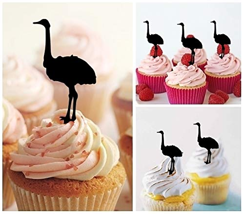 TA0716 Ostrich Zoo Animal Silhouette Party Wedding Birthday Acrylic Cupcake Toppers Decor 10 pcs
