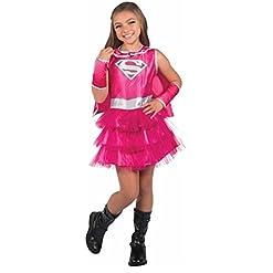 Rubie's Girls Hot Pink Supergirl Dress Costume w Cape & Gauntlets Size Med 8/10