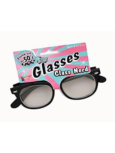 Forum Novelties 1950's Class Nerd Cracked Lens Black Frame Costume Glasses -