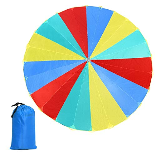 C&W Outdoor Kids Folded Play Parachute with 8 Resistant-Handles (20