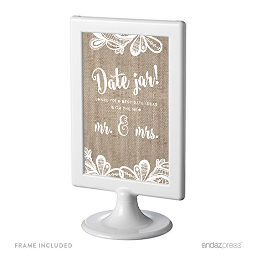 Andaz Press Burlap Lace Print Wedding Collection, Framed Party Signs, Date Jar Share Your Best Date Idea With the New Mr. & Mrs. Sign, 4x6-inch, 1-Pack, Includes Frame