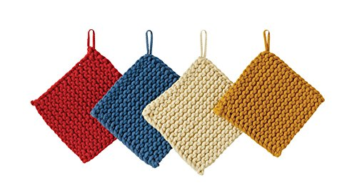 Creative Co-Op Square Cotton Crocheted Pot Holders (Set of 4 -
