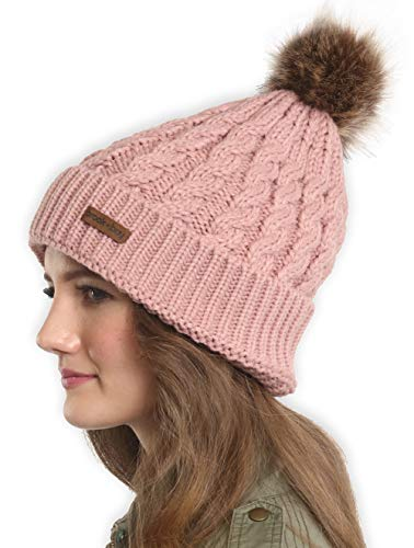 Brook + Bay Womens Faux Fur Pom Pom Beanie - Thick, Soft & Warm Cable Knit Beanie Hats for Winter - Serious Beanies for Serious Style (with 7+ Colors)