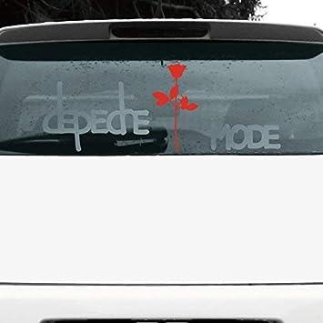 Greenit Set Exciter Schriftzug Und Rose Aufkleber Tattoo Die Cut Car Decal Auto Heck Deko Folie Depeche Mode Silber Rot Invers Auto