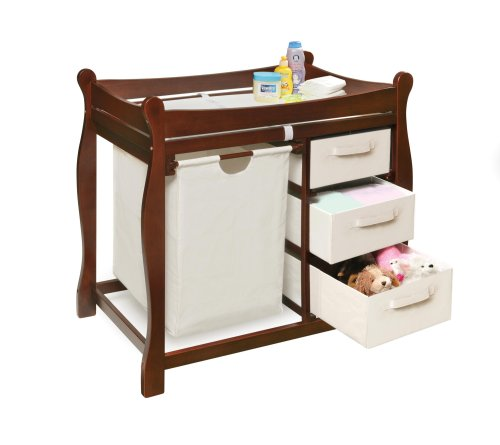 046605524022 - Badger Basket Company Sleigh Style Changing Table with Hamper/3 Baskets in Cherry carousel main 1