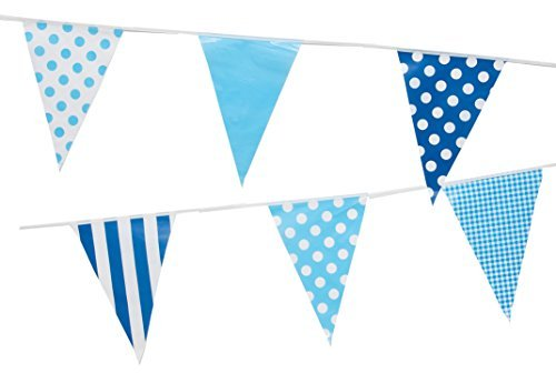 Summer Blue Mix Pennant Flags Party Banner by Gabby Fun Corp -