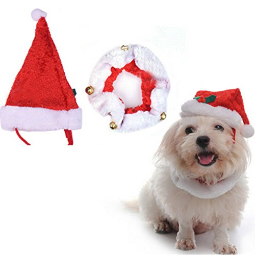 Glumes Christmas Cat Dog Santa Claus Hat and Collar CharmWith Bells Pet Santa Headwear for Cats & Small Dogs Party Costume Set ()