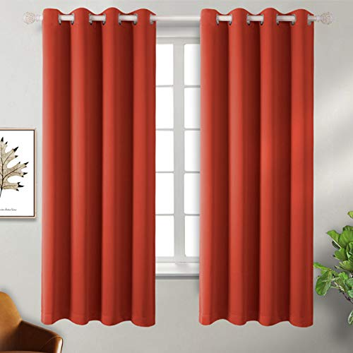 BGment Blackout Curtains - Grommet Thermal Insulated Room Darkening Bedroom and Living Room Curtain, Set of 2 Panels (52 x 63 Inch, Orange Red) (Blackout Orange Curtains Burnt)