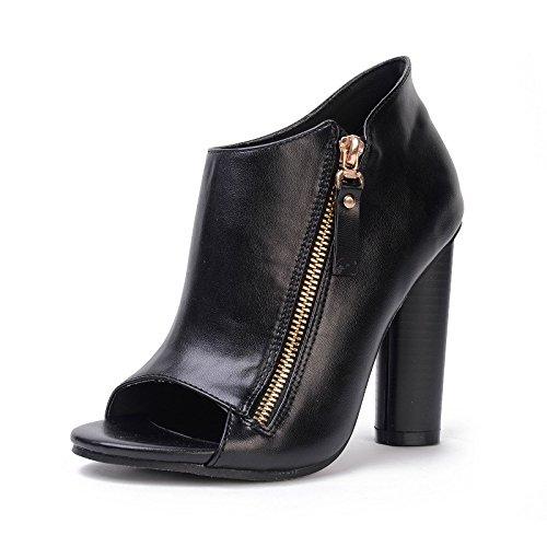 lateral black irregular de Las wild nuevas zapatos sandalias pescado de alto tacón mujer de cremallera mujer con zapatos boca de botas vOnZvwRq