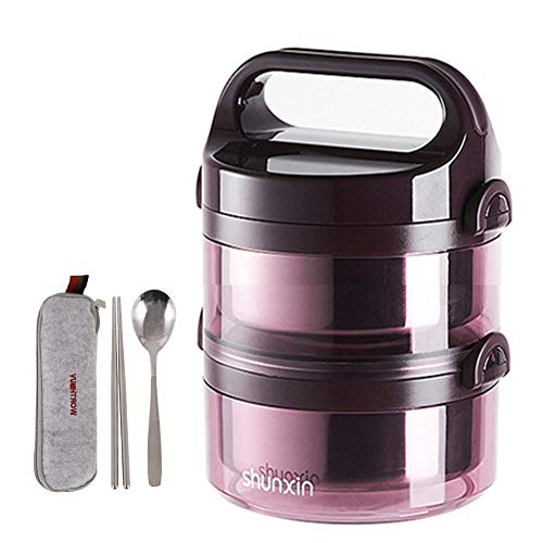 (Lunch Box Insulated Bento Box Stainless Steel Food Container with Spoon, Fork Leakproof Stackble Lunch Containers for Adults to Work, Kids to School, Outdoor Activities,Purple 2)