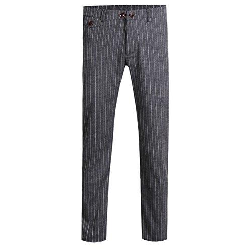 Cloudstyle Mens Pants Slim Fit Flat Front Plaid Stripe Comfort Suit Pant Dress Trousers, Black 2, X-Large(35W נ31L)