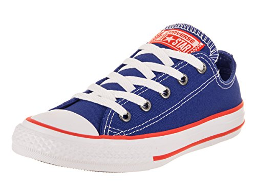 Converse Kids' Chuck Taylor All Star Seasonal Canvas Low Top Sneaker, Hyper Royal/Bright Poppy/White, 13 M US Little Kid
