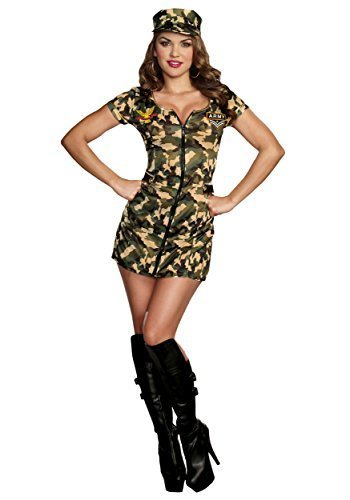 Womens Army Costumes For Halloween (Sexy Army Babe Camo Zip Front Uniform Dress Outfit Military Costume Adult Women)