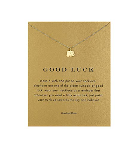 (Hundred River Elephant Necklace Good Luck Elephant Pendant Chain Necklace with Message Card Gift Card (Elephant style1))