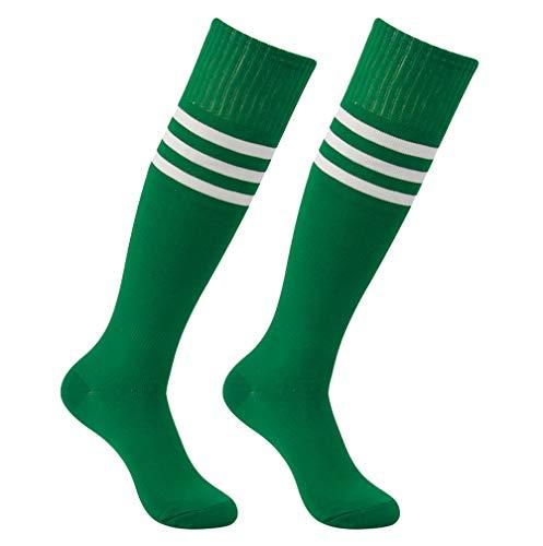 Long Tube Soccer Socks, Feelingway Cushion Knee-High Comfort Team Uniform Softball Football Baseball Sock for Adults Youth 2 Pairs Green+White Stripe