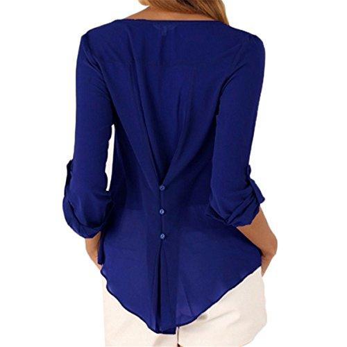 Marine Mousseline Grande t Tomayth V Tops Shirt cou Tunique Lache Manches Taille T Asymtrique Casual Chemise Femmes Bleu Longue Blouse ZHw1x4HqO