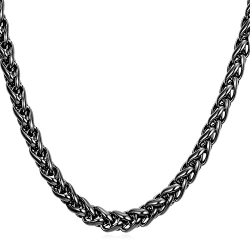 U7 Black Gun Metal Chain Men Hip Hop Jewelry 9mm Wide Rope Chain Necklace - 22 Inch