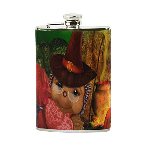 Stainless Steel Flask 18/8 with Leather Wrapped Cover Halloween Crow Frog Cat Wallpaper Winter Pocket Hip Flask 8 Oz Gift for Men-Flask Funnel