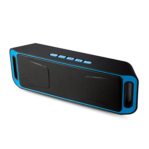 Portable Bass Dual Stereo Speaker Wireless Bluetooth Speaker Support Handsfree AUX USB TF Card Mic for iPhone /iPad/Phones/Tablet/Computer (Blue)