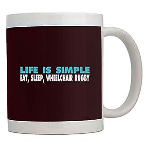 Teeburon LIFE IS SIMPLE EAT, SLEEP, Wheelchair Rugby Mug