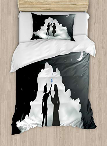 Lunarable Neverland Duvet Cover Set Twin Size, Peter Pan Story Pan and Wendy Standing on Clouds Fairy Moon Night Kids Dream, Decorative 2 Piece Bedding Set with 1 Pillow Sham, Grey White