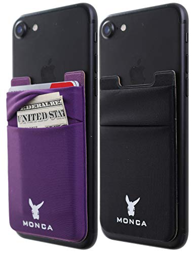 [Two] Monca Credit Card Holder [Double Secure] Stick on Wallet Discreet ID Holder Lycra Spandex Card Sleeves [Lid & Pocket] iPhone x 6s 7 8 Galaxy s9 Note 9 (Black + Purple, Double)