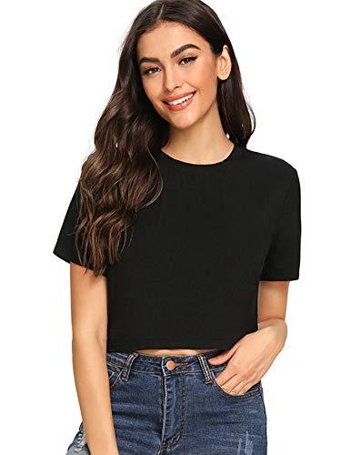 (SheIn Women's Tie Dye Print Round Neck Short Sleeve Crop T-Shirt Top X-Small Solid Black)