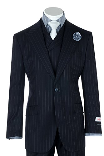San Giovesse Navy Pin-Stripe Wide Leg, Pure Wool Suit & Vest by Tiglio Rosso TIG1030 (Stripe Vest Wool)