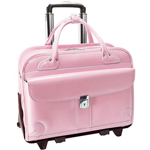 McKleinUSA LAKEWOOD 96619 Pink Leather Fly-Through Checkpoint-Friendly Detachable-Wheeled Ladies' (Pink Italian Briefcase)