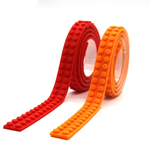 LattoGe Silicone Building Blocks Bricks Tape Kids Birthday Party for Legos Figure Loops Construction Toys Wall...