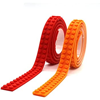 LattoGe Block Tape 2 Rolls for Kids Lego Figures Table Toys Self-Adhesive Baseplate Plates Walls Desks Christmas Birthday Supplies Room Art Decoration (2 Studs(Red+Orange))
