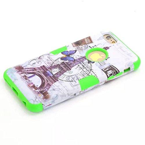 iPhone 6 Plus Case, Lantier [3 en 1 Shield Series] Tour Et Papillon Conception hybride motifs Cover boîtier en plastique dur avec étui en silicone souple intérieure (5,5 pouces) pour Apple iPhone 6 /