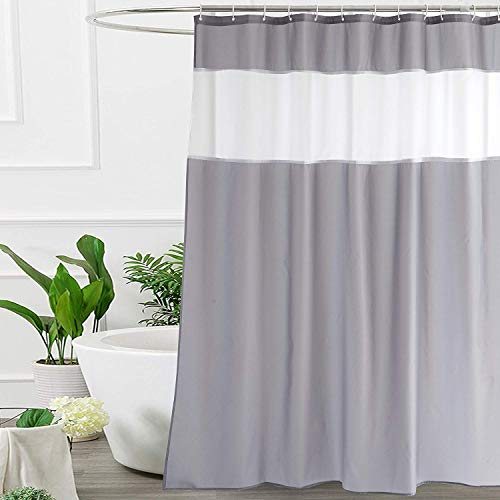 UFRIDAY White and Gray Shower Curtain 72-Inch by 78-Inch, Modern Shower Curtain Fabric (Gray Shower Curtain Fabric)