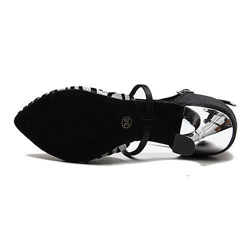 T.T-Q Zapatos de Baile de Mujer Tacones de Aguja Tacón de Aguja Principiante Profesional Negro Negro