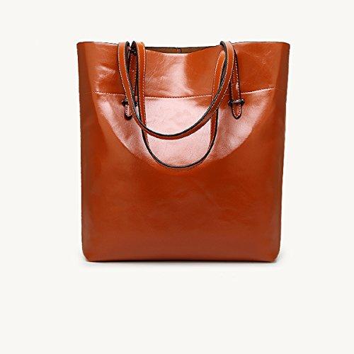 diario mujer de para Soft cuero capacidad bolsas de trabajo bolsa bolsos Brown de vertical gran Flada de PU hombro Brown con wfUqA8W