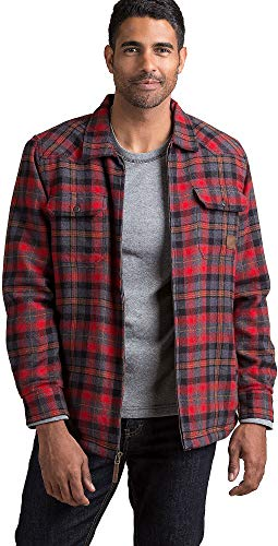 Overland Sheepskin Co Nash Sherpa-Lined Cotton Flannel Shirt Jacket
