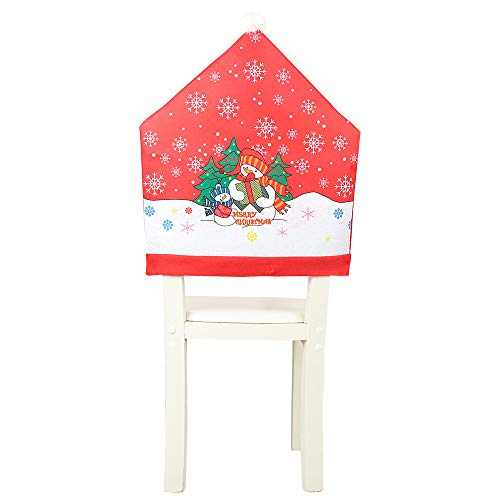 Fan-Ling Christmas Decoration Non-Woven Big Hat Chair Cover Stool Set, Santa Claus Kitchen Table Chair Covers,Christmas Holiday Home Decoration,Non-Woven Material, 60X49CM (H:2PCS) (Tub Velvet Chair Crushed)