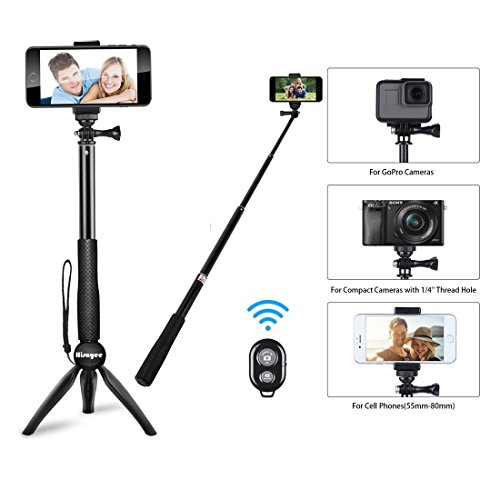HiSayee Bluetooth Selfie Stick, Extendable Selfie Stick with Wireless Remote and Tripod Stand Selfie Stick for iPhone 8/8 Plus/iPhone X/iPhone 7/iPhone 7 Plus/Galaxy S9/S9 Plus/Note 8/S8 /S8 Plus/More