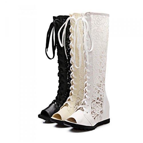 Malla Botas Mujer Señoras Cruzadas Verano con Sandalias Correas Sandalias Zapatos de Altas Primavera para Aire Libre Beige Cremallera al ZXMXY Otoño 7xf4zCfW