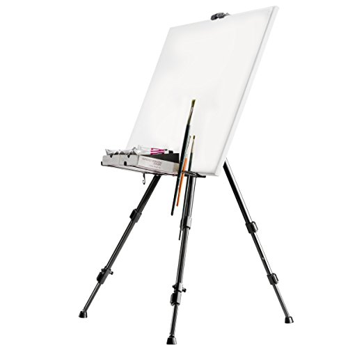 Walimex Aluminium Workshop Easel for canvases up to 122 cm in Height (Load-Bearing Capacity of Approx. 6 kg, Brush Holder, Bag)