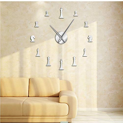 - Chess Pieces King Queen Parlor Game DIY Big Wall Clock Chessman Stickers Wall Watch Chess Player Gifts(37inch)